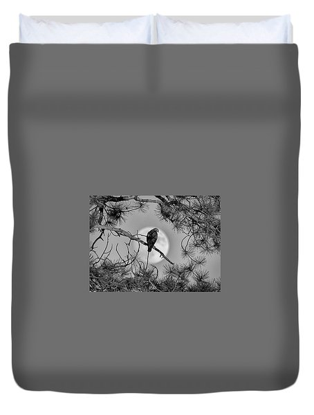 Duvet Cover featuring the photograph Super Moon Hawk by Kevin Munro