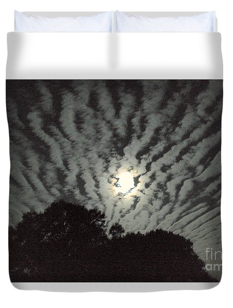 Duvet Cover featuring the photograph Super Moon by Irma BACKELANT GALLERIES