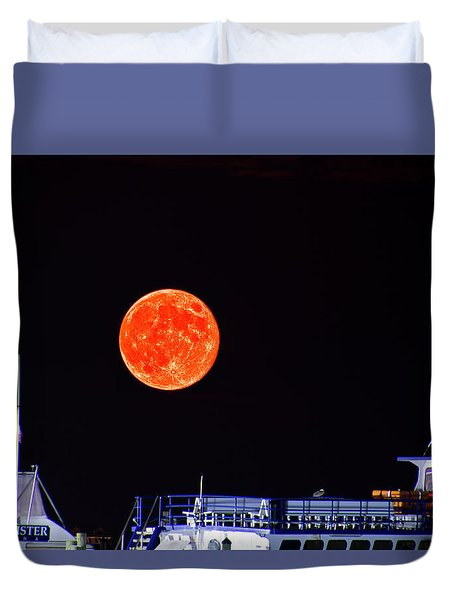 Super Moon Over Crazy Sister Marina Duvet Cover by Bill Barber