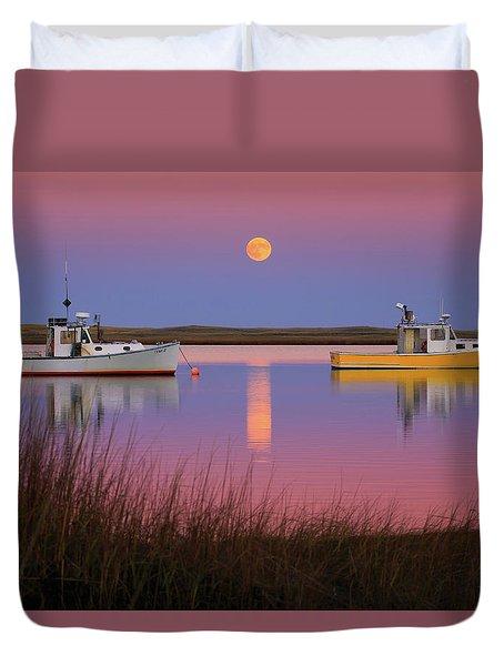 Super Moon Over Nauset Beach Cape Cod National Seashore Duvet Cover by Dapixara Art
