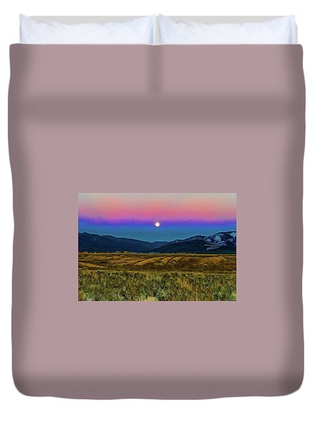 Super Moon Over Taos Duvet Cover