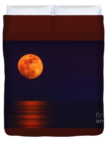 Duvet Cover featuring the photograph Super Moon Rising Over Water by Charline Xia