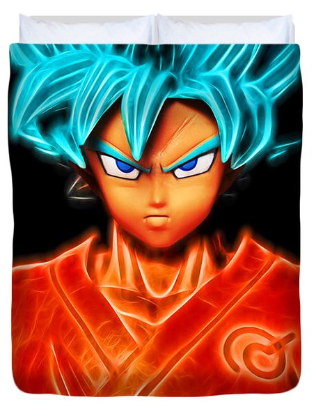 Duvet Cover featuring the digital art Super Saiyan God Goku by Ray Shiu