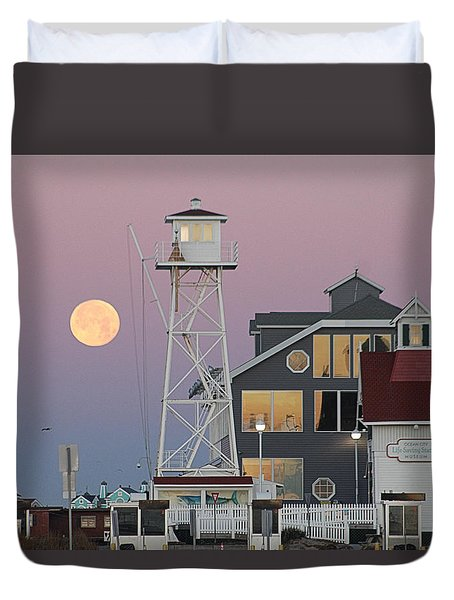 Super Wolf Moon At The Watch Tower Duvet Cover