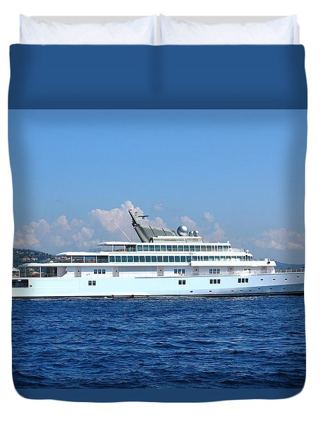 Duvet Cover featuring the photograph Super Yacht by Richard Patmore