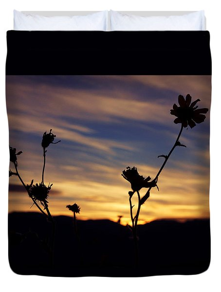 Superbloom Sunset In Death Valley 100 Duvet Cover by Daniel Woodrum