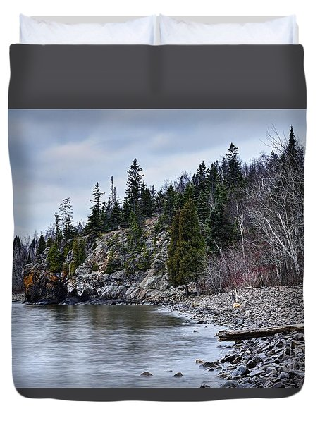 Duvet Cover featuring the photograph Superior Cliffs by Larry Ricker
