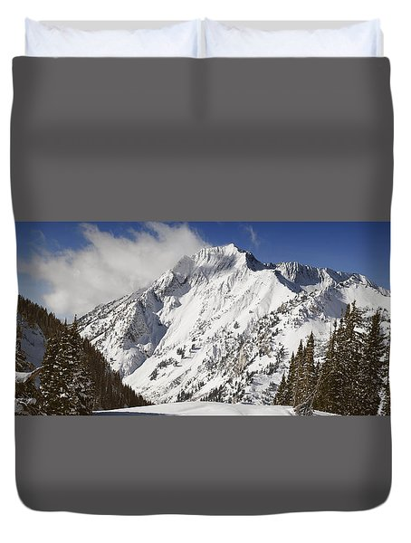 Superior Peak Wasatch Mountains Utah Panorama Duvet Cover by Utah Images