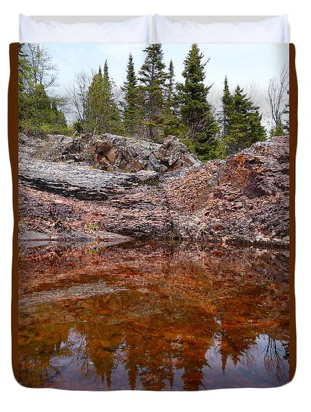 Duvet Cover featuring the photograph Superior Rock Reflections #3 by Sandra Updyke