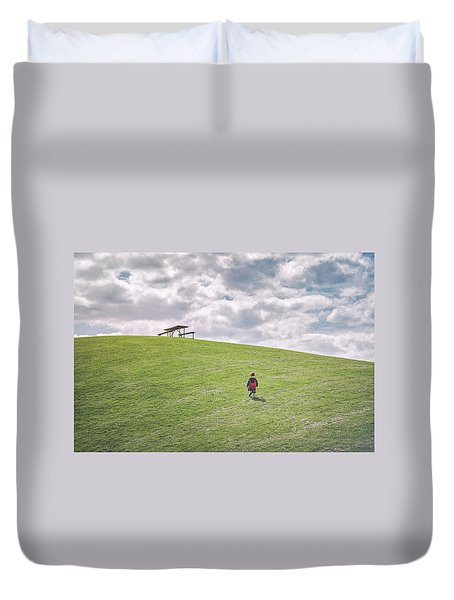 Superman And The Big Hill Duvet Cover