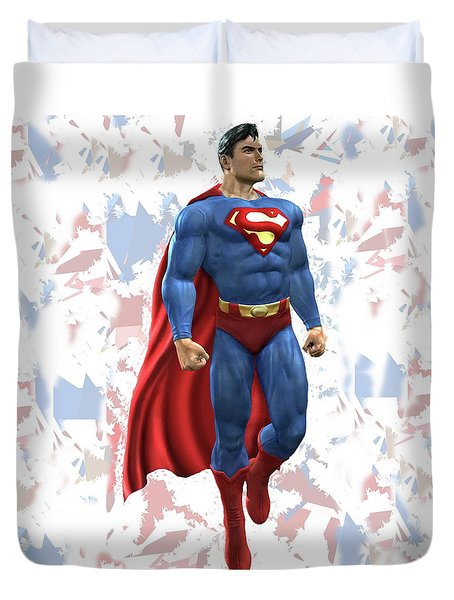 Duvet Cover featuring the mixed media Superman Splash Super Hero Series by Movie Poster Prints