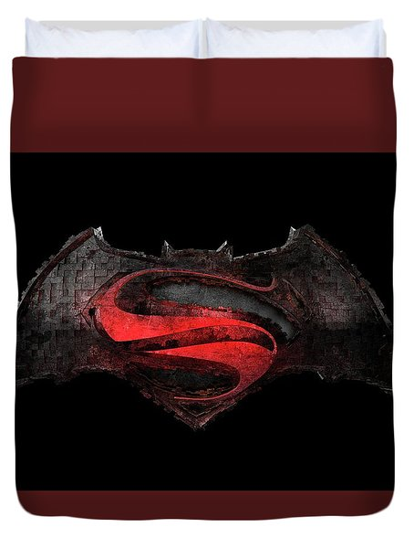 Duvet Cover featuring the photograph Superman Vs Batman by Louis Ferreira