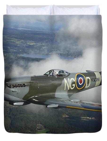 Supermarine Spitfire Mk.xvi Fighter Duvet Cover by Daniel Karlsson