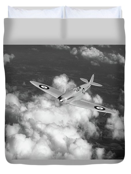 Duvet Cover featuring the photograph Supermarine Spitfire Prototype K5054 Black And White Version by Gary Eason