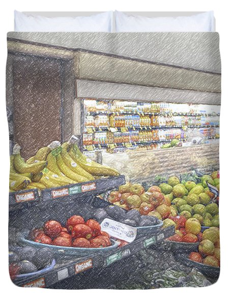 Duvet Cover featuring the photograph Supermarket Produce Section by David Zanzinger