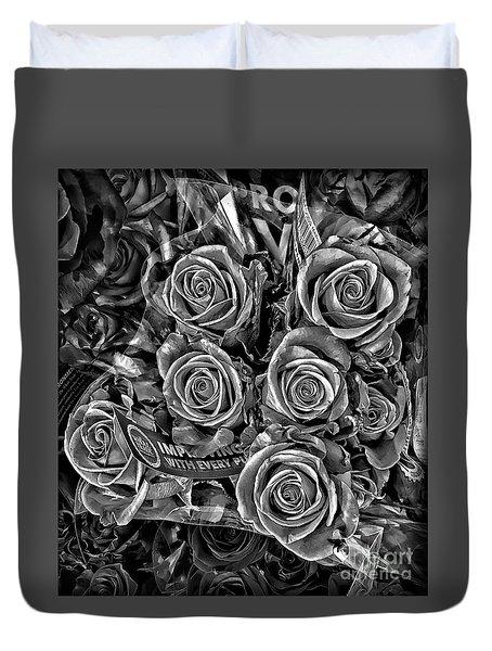 Supermarket Roses Duvet Cover by Walt Foegelle