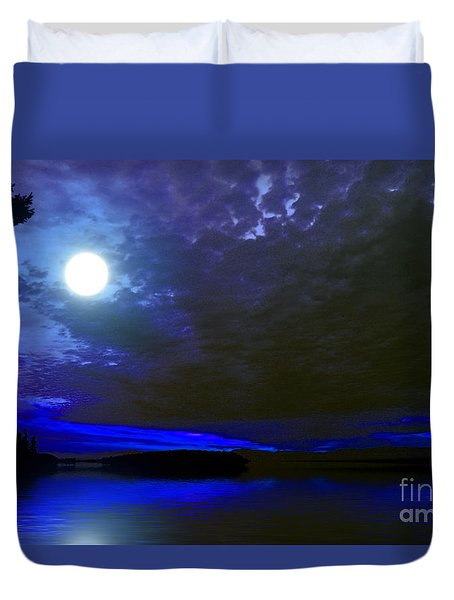 Supermoon Over Lake Duvet Cover by Elaine Hunter