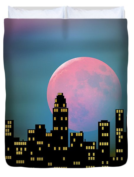 Supermoon Over The City Duvet Cover by Klara Acel