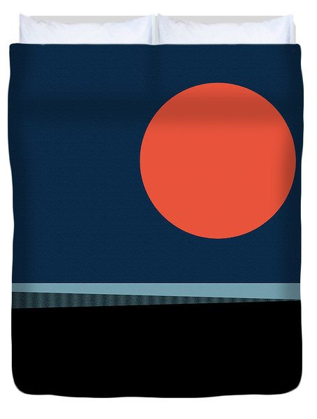 Duvet Cover featuring the digital art Supermoon Over The Sea by Klara Acel