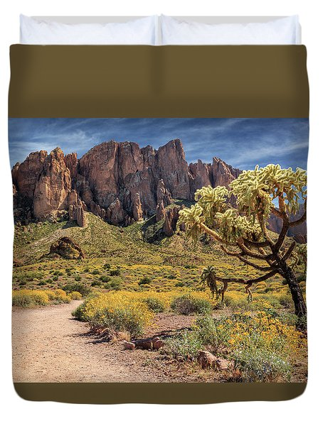 Superstition Mountain Cholla Duvet Cover