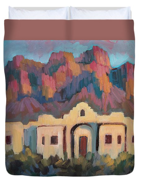 Duvet Cover featuring the painting Superstition Mountain Evening by Diane McClary