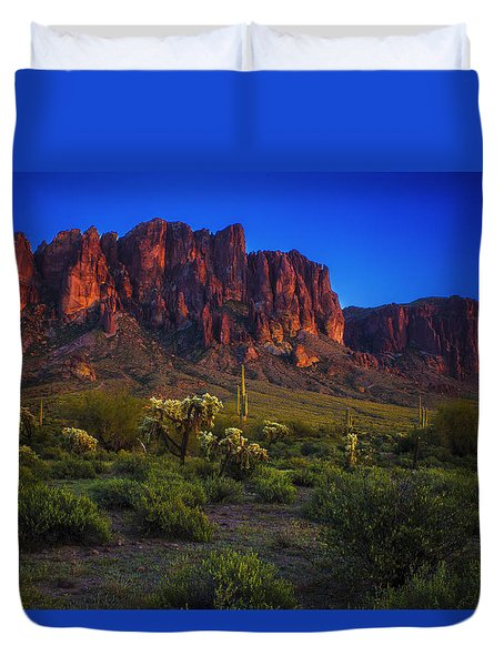 Superstition Mountain Sunset Duvet Cover