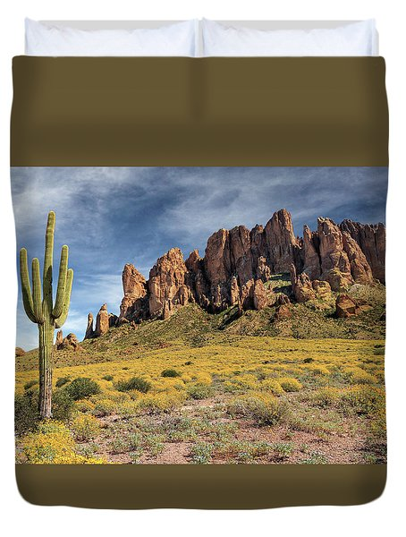Duvet Cover featuring the photograph Superstition Mountains Saguaro by James Eddy