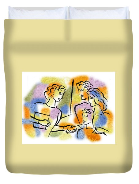 Duvet Cover featuring the painting Support And Family Assistance by Leon Zernitsky