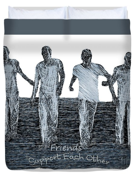 Duvet Cover featuring the digital art Support Each Other by Lance Sheridan-Peel