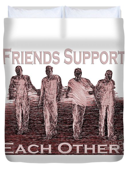 Duvet Cover featuring the digital art Support Friends In Bronze by Lance Sheridan-Peel