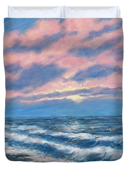 Surf And Clouds Duvet Cover by Kathleen McDermott