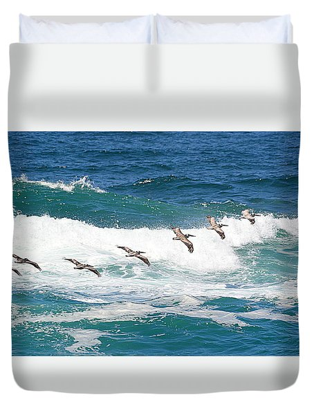 Surf And Pelicans Duvet Cover