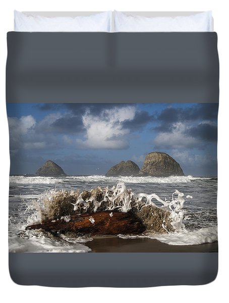 Surf And Three Arch Rocks Duvet Cover