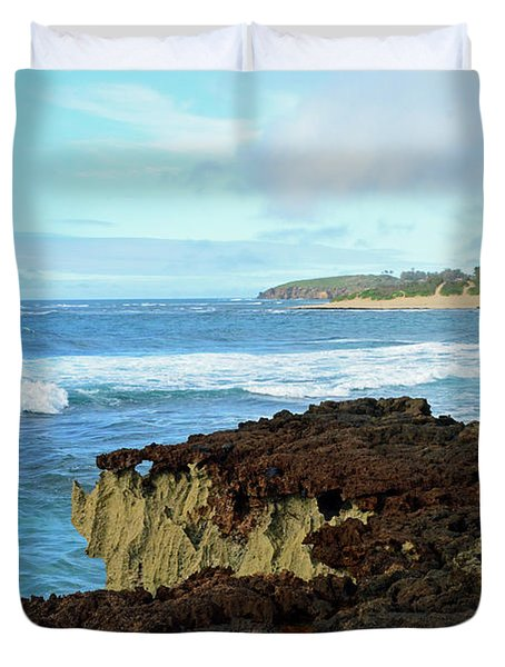 Surf At Mahaulepu Beach Hawaii Duvet Cover
