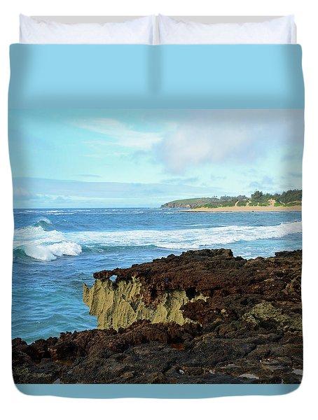 Surf At Mahaulepu Beach Hawaii Duvet Cover