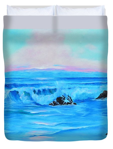 Surf At Sunset  Duvet Cover
