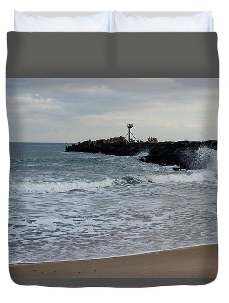 Surf Beach At Manasquan Inlet Duvet Cover