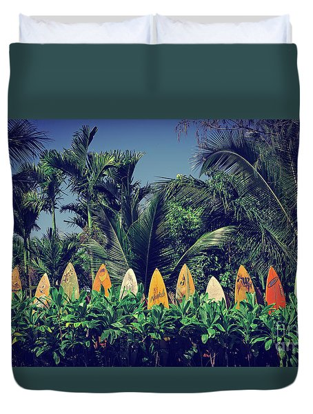 Duvet Cover featuring the photograph Surf Board Fence Maui Hawaii Vintage by Edward Fielding