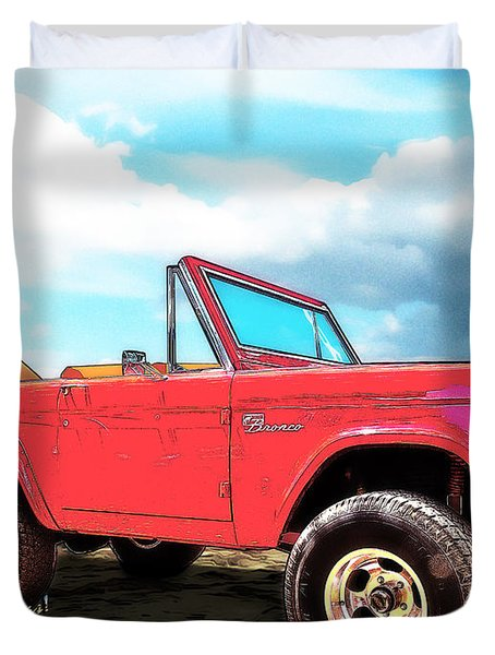 Surf Bronco Beyond The 4 Wheel Drive Only Sign Padre Island Duvet Cover