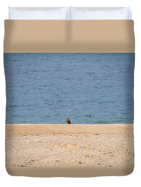 Duvet Cover featuring the photograph Surf Caster by  Newwwman