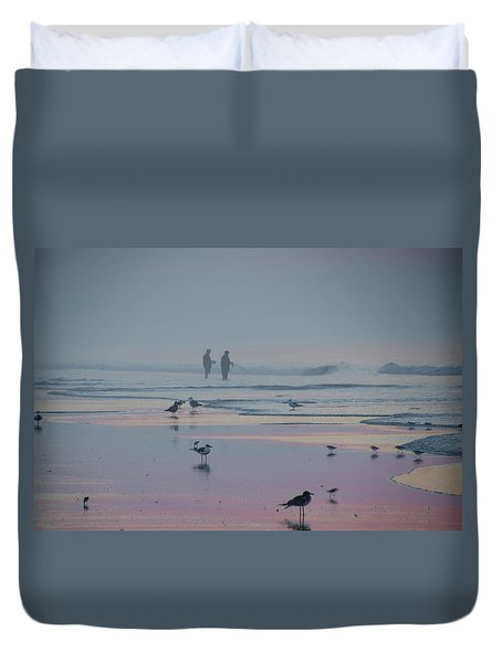 Duvet Cover featuring the photograph Surf Fishing In Wildwood by Bill Cannon