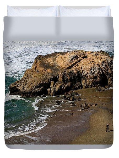 Surf Fishing At Ocean Beach Duvet Cover