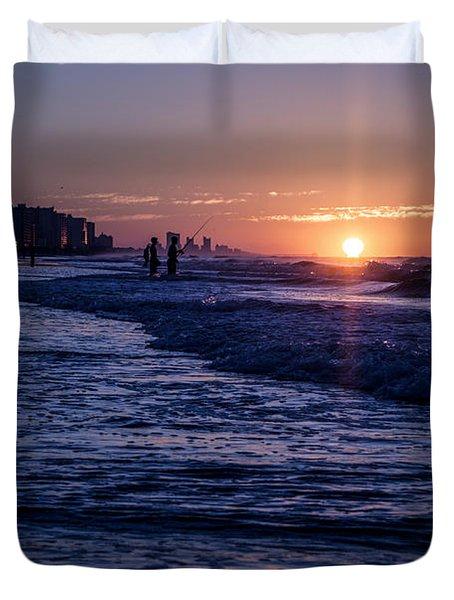 Surf Fishing At Sunrise Duvet Cover