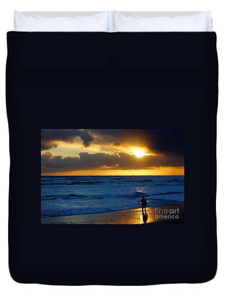 Duvet Cover featuring the painting Surf Fishing Late Evening by Rod Jellison
