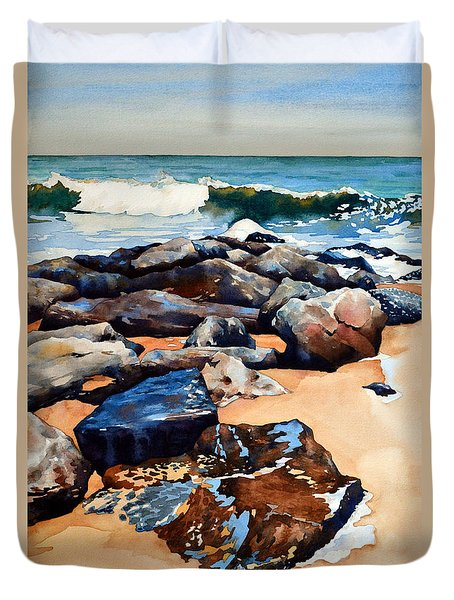 Surf On The Jetty Duvet Cover