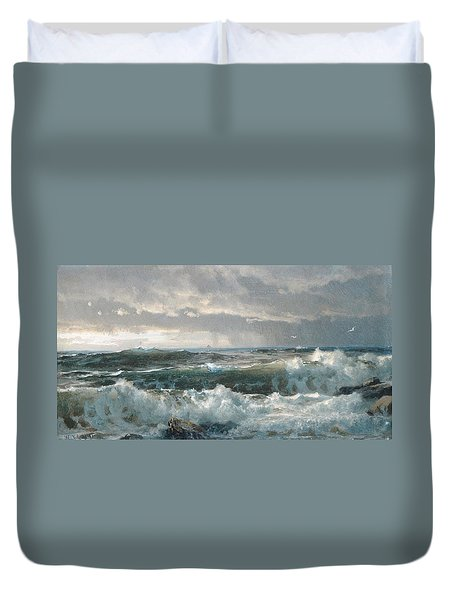 Surf On The Rocks Duvet Cover