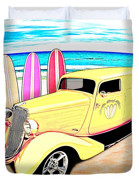 Surf Shop Sedan Delivery Rod Padre Island Duvet Cover