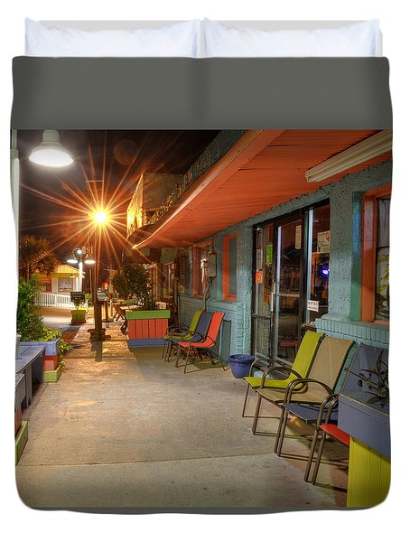 Surf Side Bar At Night Duvet Cover