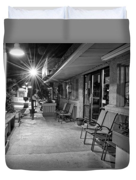 Surf Side Bar At Night In Black And White Duvet Cover