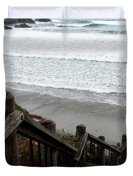 Duvet Cover featuring the photograph Surf Stairway by Lorraine Devon Wilke